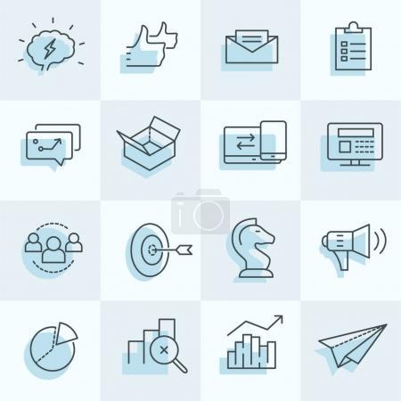 Photo pour Ensemble d'icônes marketing numérique, y compris stratégie, cible, médias sociaux, etc. .. - image libre de droit