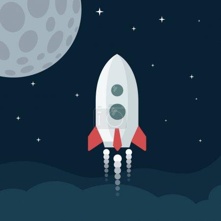 Photo pour Illustration vectorielle de lancement de fusée - image libre de droit