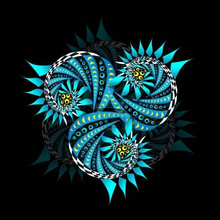 Photo pour T-shirt imprimé design. Thème spatial. Illustration vectorielle florale futuriste aux couleurs fluo vives - image libre de droit