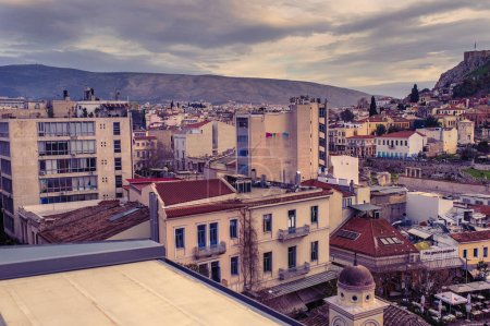 Photo for Athens, Greece, 03.03.2018: View of Athens city  Plaka neighborhood. - Royalty Free Image