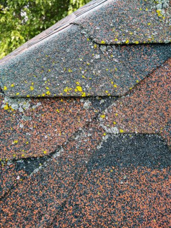 Roof with aged asphalt tiles