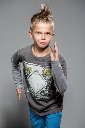 Stylish 10 year old european boy