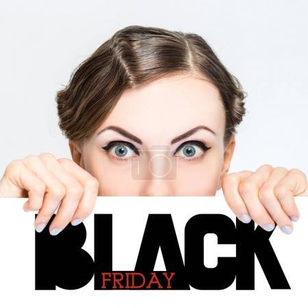 Black friday super sale beautiful woman portrait