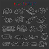 Vector illustration with different kinds of meat beef steak lamb chop pork chicken and sausages doodle sketch style isolated on chalkboard background