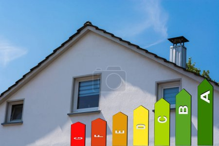 House facade against blue sky.