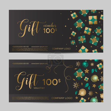 Illustration for Christmas gift certificate template. Presents and snowflakes with sequins on a black background - Royalty Free Image