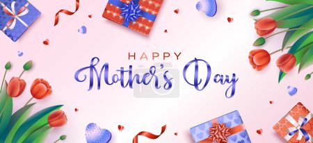 Illustration for Happy Mothers day greeting card with red tulips, hearts, and gifts on a pink background. Vector illustration in a modern style - Royalty Free Image