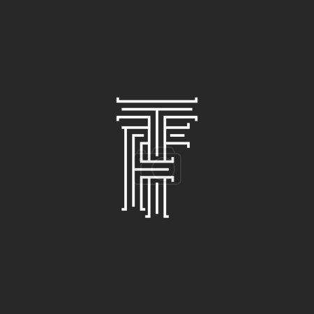 Illustration pour Lettres TF monogramme, tissage ligne mince emblème TF initiales médiévales - image libre de droit
