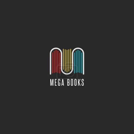 Illustration for Bookstore logo idea, colorful books logotype in the form of letter M, emblem mockup for publishers, libraries and encyclopedias. Vector illustration - Royalty Free Image