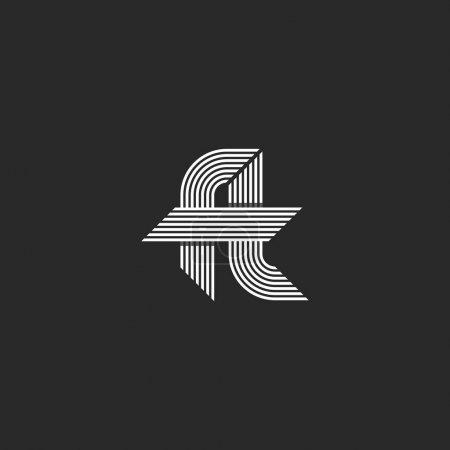 Illustration pour Lettres ft logo idée monogramme, lié hipster f et t symboles, chevauchement mince lignes parallèles emblème style moderne - image libre de droit