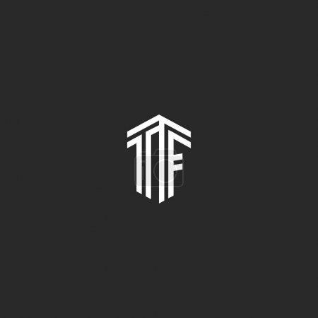 Illustration pour Logo Lettres TF monogramme, ligne intersection calligraphique isométrique linéaire style minimal emblème FT Initiales, lettres majuscules liées F et T typographie modèle d'élément de conception - image libre de droit