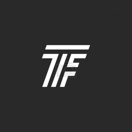 Illustration pour Monogramme lettre TF logo, lié deux lettres majuscules T et F emblème noir et blanc style linéaire, initiales FT typographie élément de conception pour carte de visite - image libre de droit