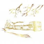 Reclining Buddha with golden border elements Vector sketch desig