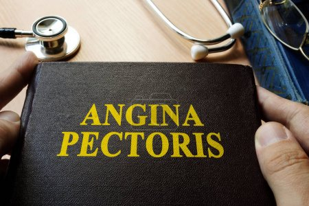 Title Angina pectoris on a book which holding doctor.