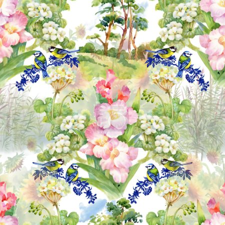 birds and flowers seamless background