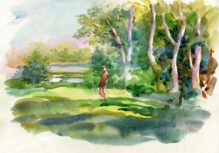 Aquarell Sommer ländliche Landschaft