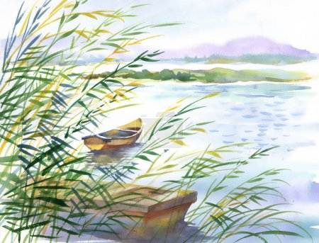 rural landscape with boat