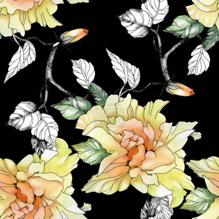 yellow roses and leaves pattern