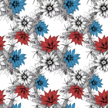 pattern with red and blue flowers