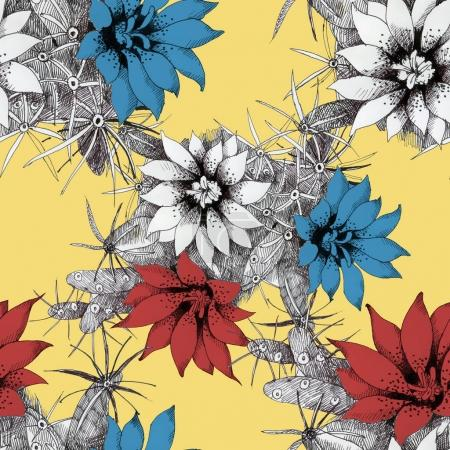 Photo for Watercolor hand drawn seamless pattern with red and blue flowers on yellow background - Royalty Free Image