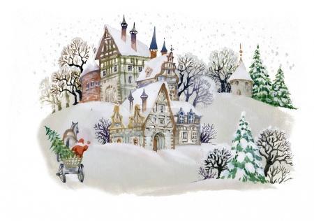 Paisaje de invierno con casas