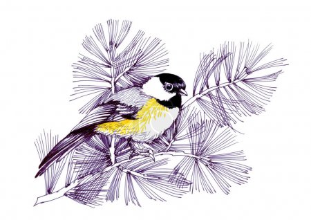 Watercolor bird sitting on  branch. Hand Painted Floral Greeting Card Illustration