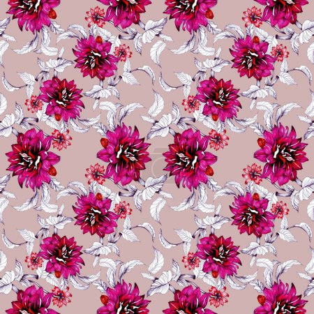 Watercolor hand drawn seamless pattern with beautiful flowers and leaves on pink background