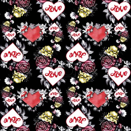 Watercolor hand drawn seamless pattern with beautiful flowers, hearts and cupids, Valentine day background