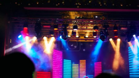 The Stage Spotlight with Laser rays. Event concept