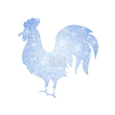 Illustration pour Silhouette de coq d'argent congelé. Illustration vectorielle du symbole chinois de bonne année . - image libre de droit