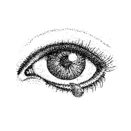 Illustration for Dotwork Crying Eye. Vector Illustration of Human Vision and Tear Drop. Tattoo Hand Drawn Sketch. - Royalty Free Image