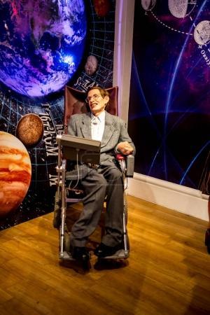 London, England, April 2017: Stephen Hawking wax figure in Madame Tussaud museum