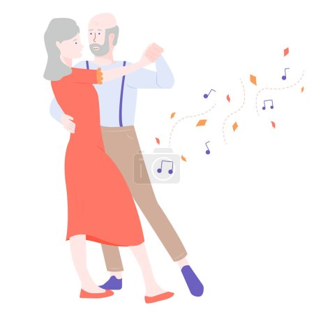 Mature couple dancing. Around the autumn leaves an...