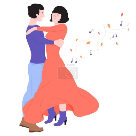 Young couple is dancing in a dance. Tango or waltz...