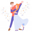 A young couple is dancing. Around the autumn leave...