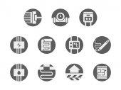 Underfloor systems round gray vector icons set