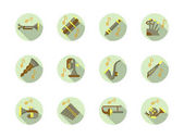Brass and woodwind tunes round flat vector icons