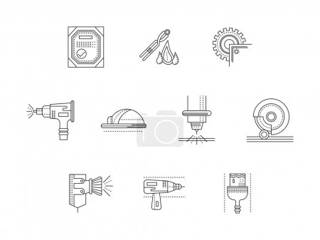 Metalworking flat line vector icons set