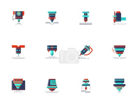 Lasers flat color vector icons collection