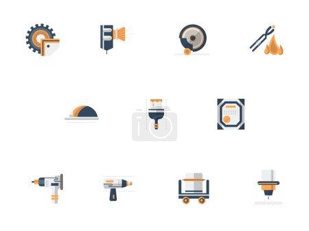 Metal processing equipment flat vector icons set