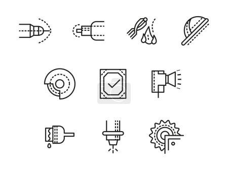 Metalworking equipment black line vector icons set