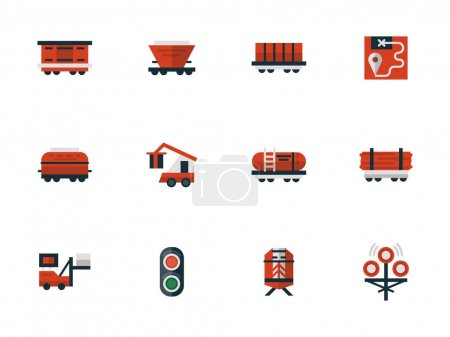 Railway flat design red vector icons