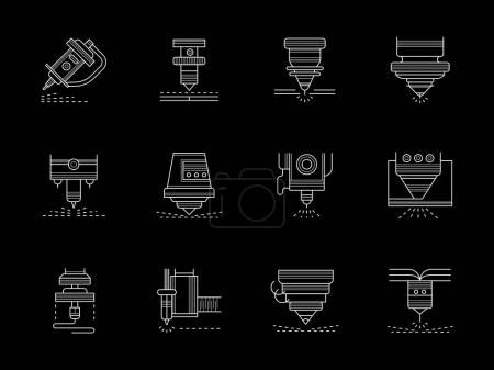 Metalworking lasers flat white line vector icons