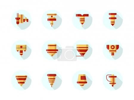 Lasers in industry round flat vector icons set