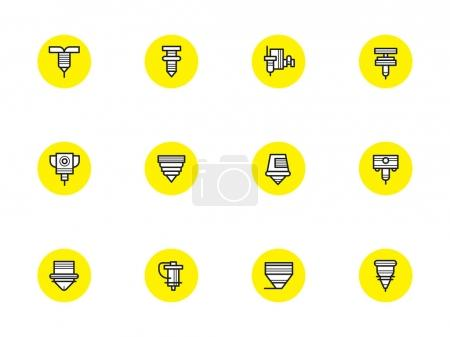 Robotic CNC lasers simple line vector icons