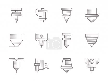 CNC lasers vintage vector icons set