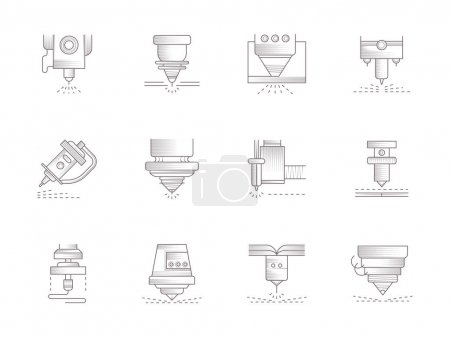 Lasers vintage vector icons set