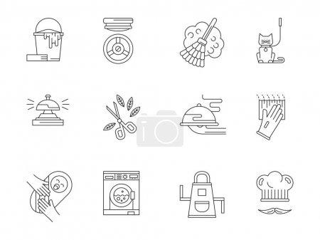Illustration pour Symboles abstraits du personnel domestique. Plaque de cuisson, jardinier, soins aux animaux et soins infirmiers, services de nettoyage. Ensemble d'icônes vectorielles de conception de ligne plate - image libre de droit