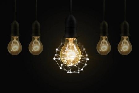 Photo for Glowing  light bulb, Realistic photo image turn on tungsten - Royalty Free Image