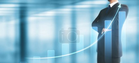 Photo for Businessman plan graph growth and increase of chart positive indicators in his business - Royalty Free Image